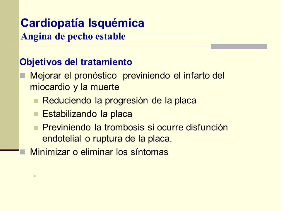 Objetivos del tratamiento Mejorar el pronóstico previniendo el infarto del miocardio y la muerte Reduciendo la progresión de la placa Estabilizando la