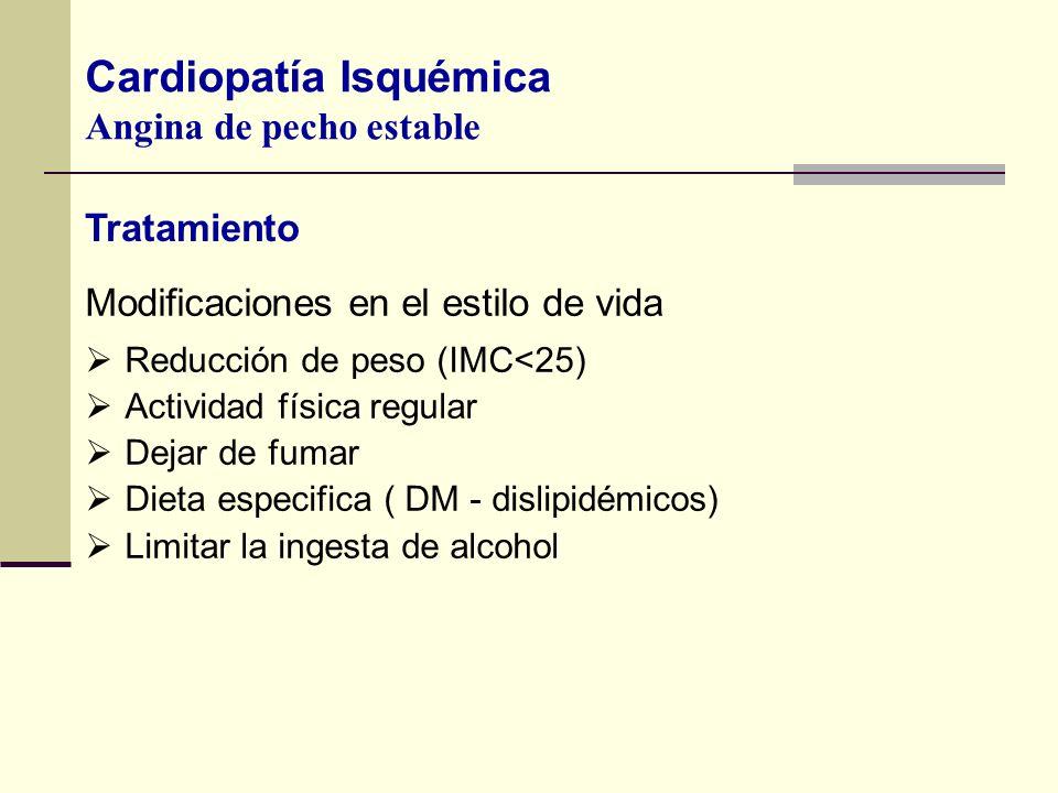 Modificaciones en el estilo de vida Reducción de peso (IMC<25) Actividad física regular Dejar de fumar Dieta especifica ( DM - dislipidémicos) Limitar
