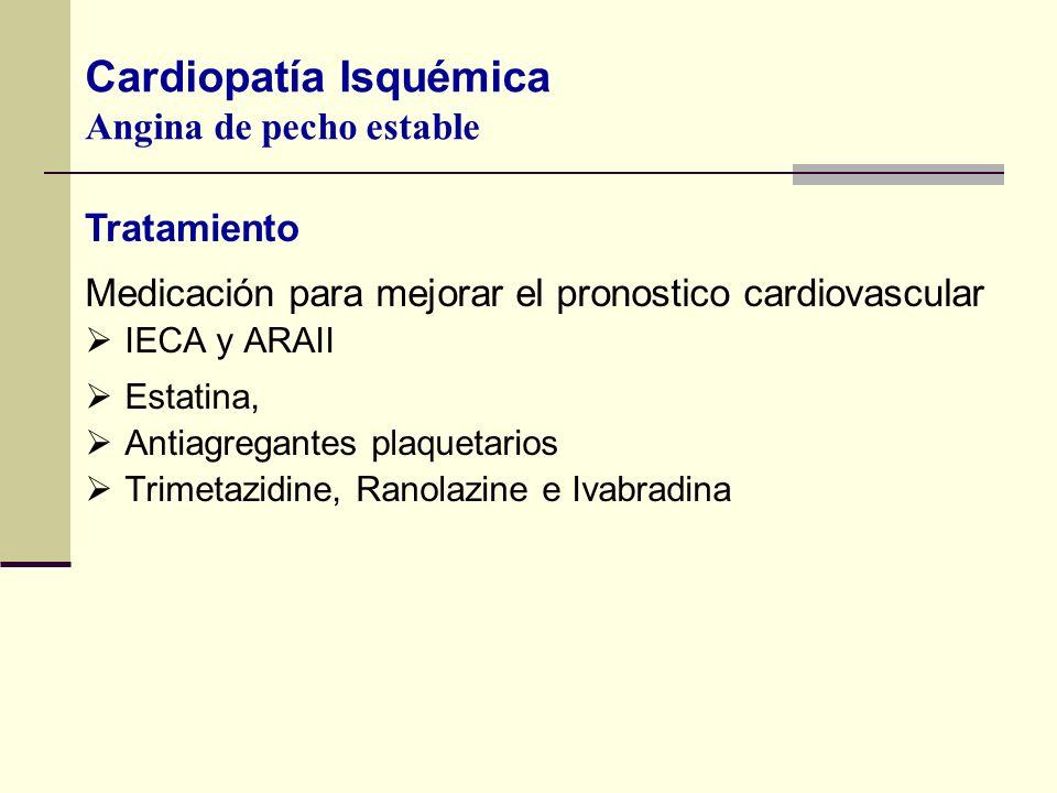 Medicación para mejorar el pronostico cardiovascular IECA y ARAII Estatina, Antiagregantes plaquetarios Trimetazidine, Ranolazine e Ivabradina Cardiop