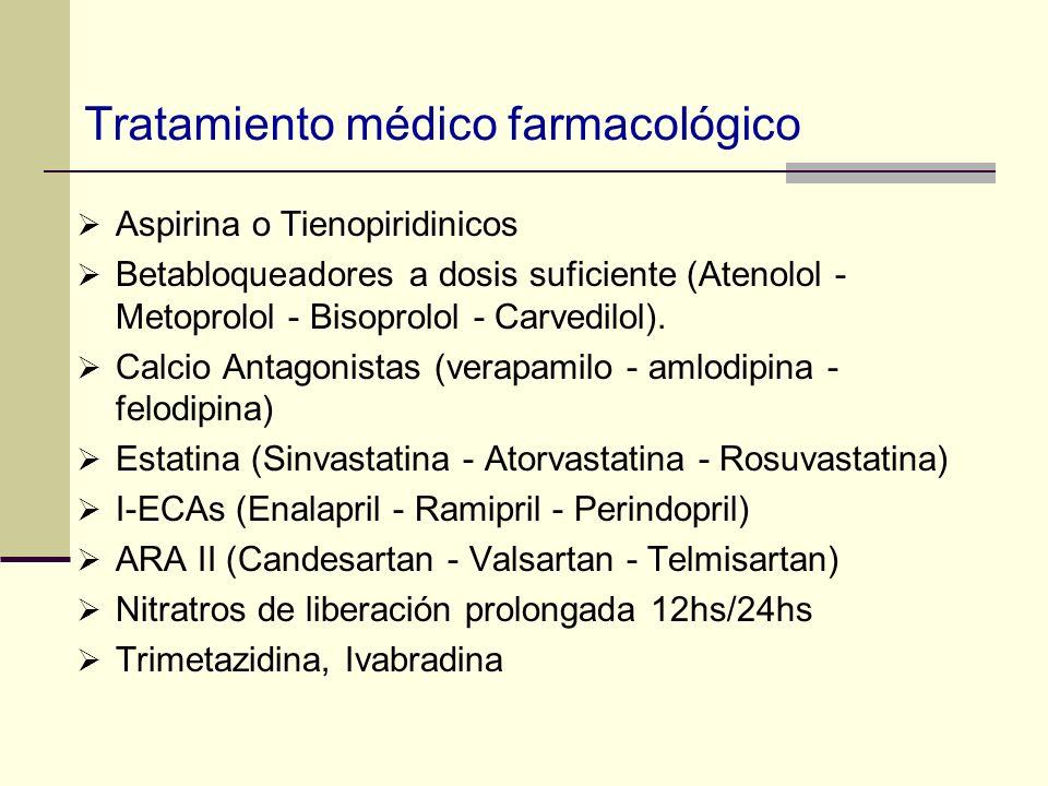 Tratamiento médico farmacológico Aspirina o Tienopiridinicos Betabloqueadores a dosis suficiente (Atenolol - Metoprolol - Bisoprolol - Carvedilol). Ca