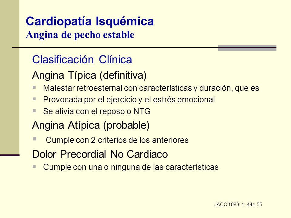 Clasificación Clínica Angina Típica (definitiva) Malestar retroesternal con características y duración, que es Provocada por el ejercicio y el estrés