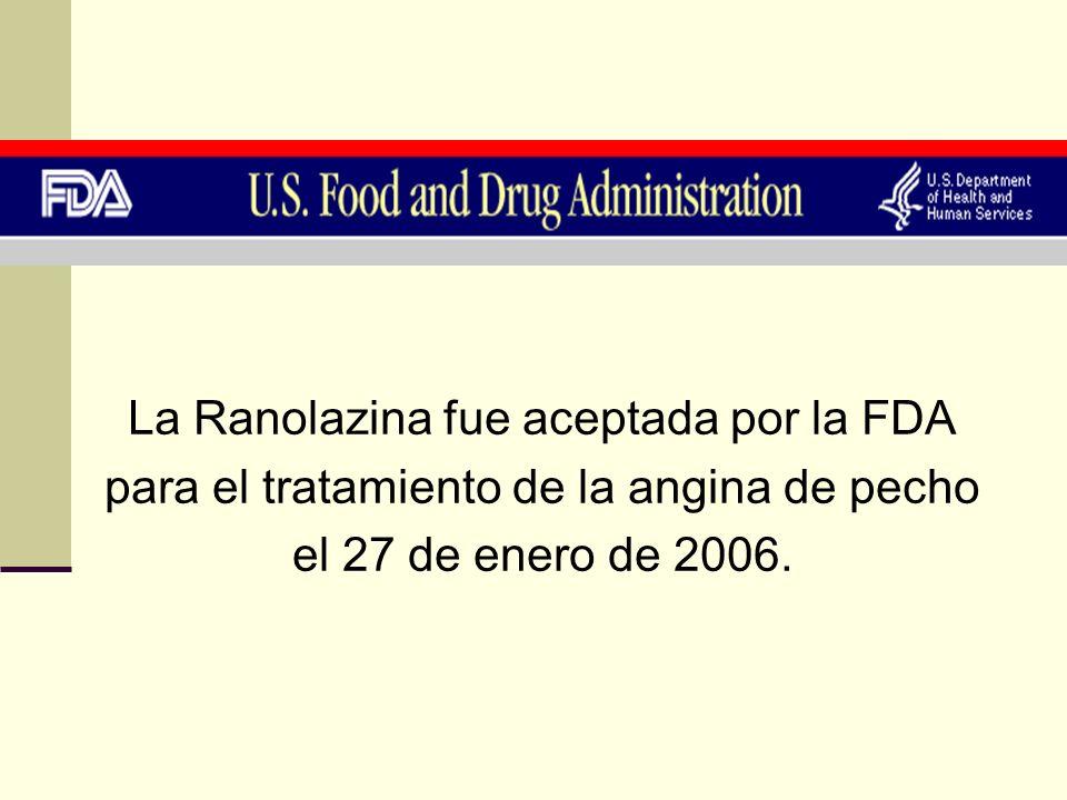 La Ranolazina fue aceptada por la FDA para el tratamiento de la angina de pecho el 27 de enero de 2006.