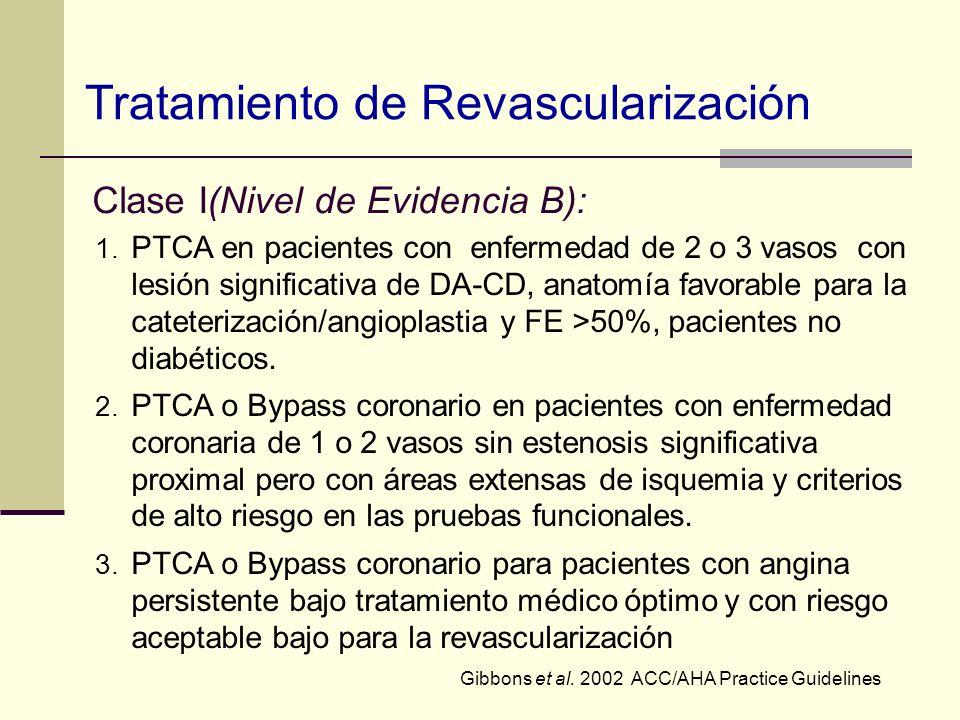 Clase I(Nivel de Evidencia B): 1. PTCA en pacientes con enfermedad de 2 o 3 vasos con lesión significativa de DA-CD, anatomía favorable para la catete