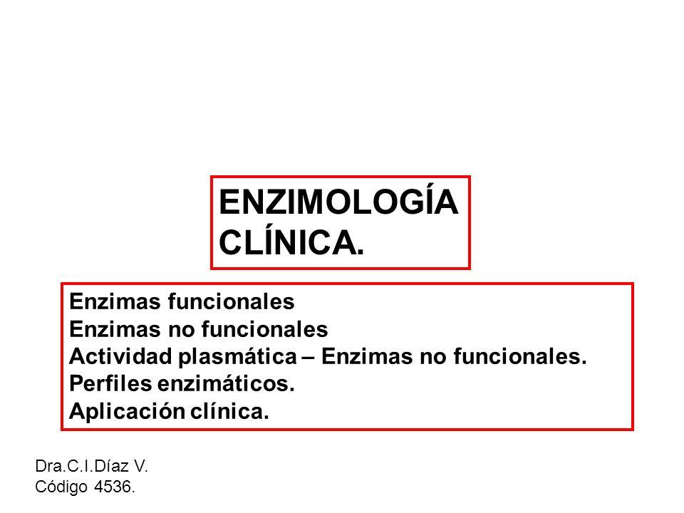 ENZIMOLOGÍA CLÍNICA. Dra.C.I.Díaz V. Código 4536. Enzimas funcionales Enzimas no funcionales Actividad plasmática – Enzimas no funcionales. Perfiles e