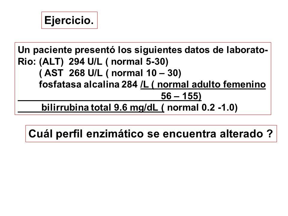Ejercicio. Un paciente presentó los siguientes datos de laborato- Rio: (ALT) 294 U/L ( normal 5-30) ( AST 268 U/L ( normal 10 – 30) fosfatasa alcalina