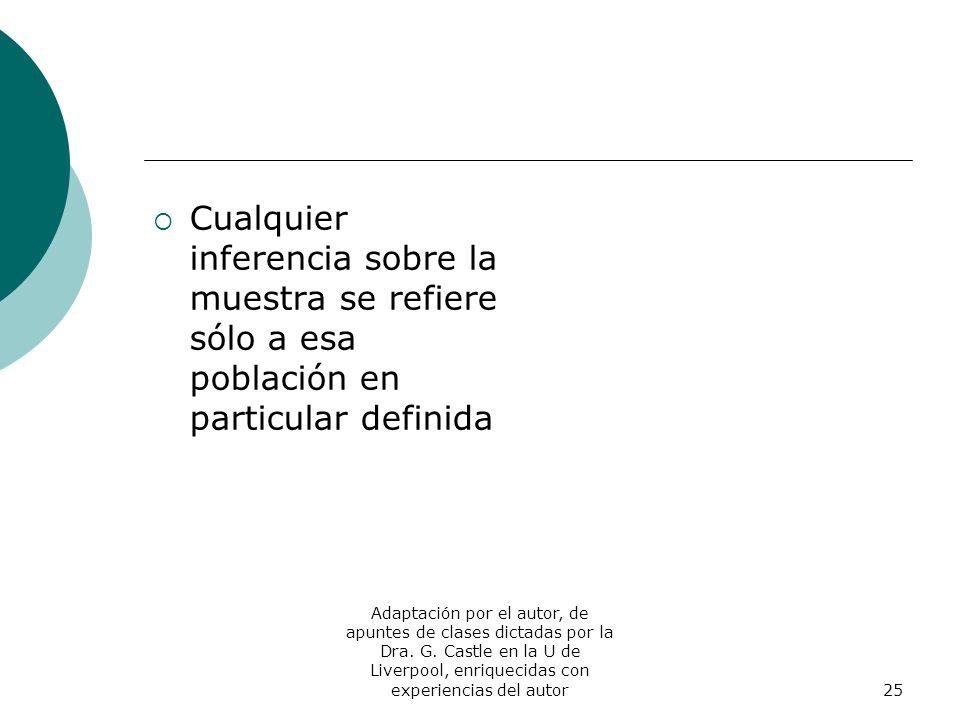Adaptación por el autor, de apuntes de clases dictadas por la Dra. G. Castle en la U de Liverpool, enriquecidas con experiencias del autor25 Cualquier