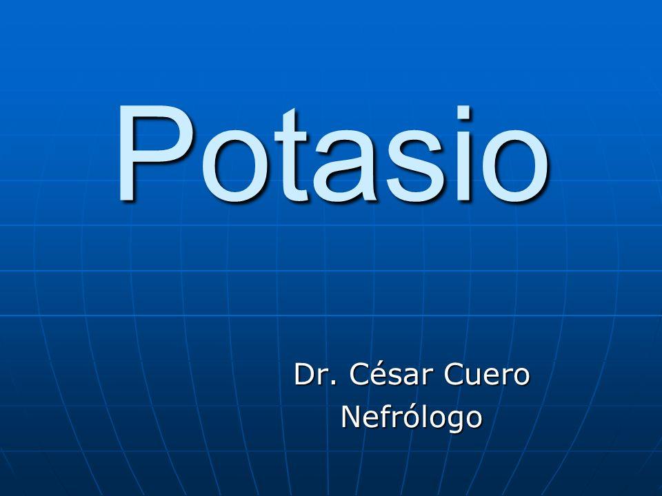 Causas de Hipocalemia Pérdida renal del potasio Pérdida renal del potasio Cetoacidosis diabética, Cetoacidosis diabética, vómito, vómito, succión nasogástrica, succión nasogástrica, deplesión de magnesio, deplesión de magnesio,