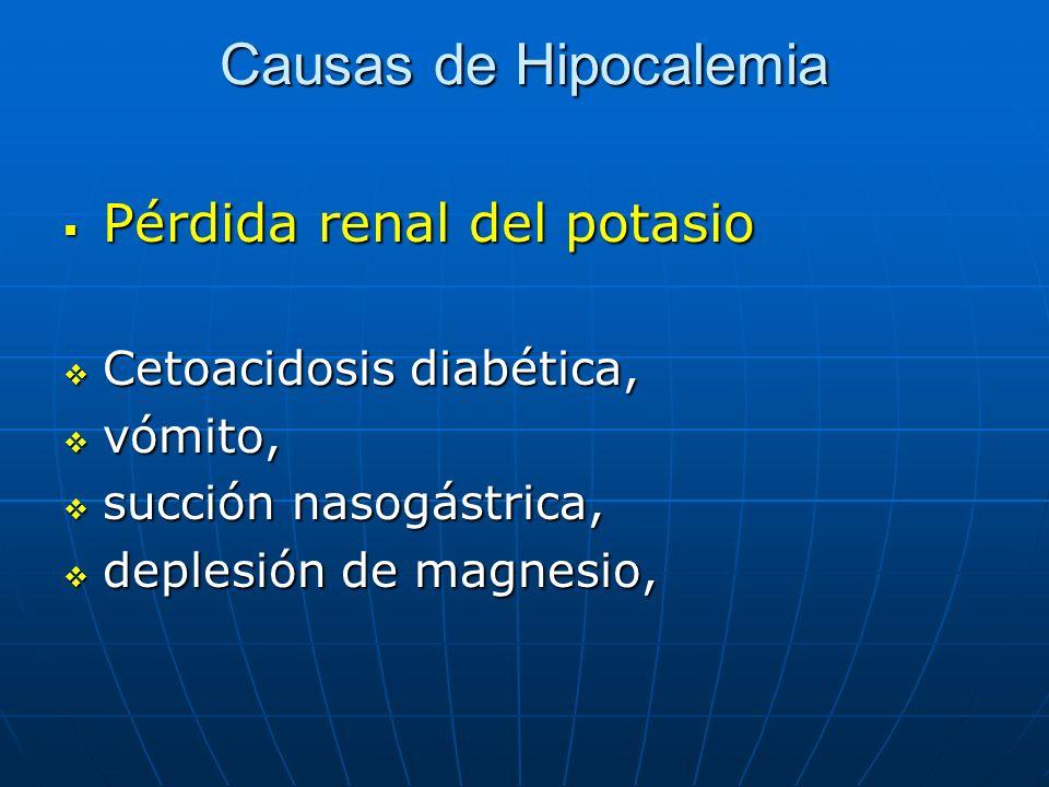 Causas de Hipocalemia Pérdida renal del potasio Pérdida renal del potasio Cetoacidosis diabética, Cetoacidosis diabética, vómito, vómito, succión naso