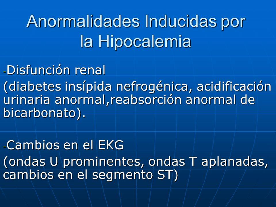 Anormalidades Inducidas por la Hipocalemia - Disfunción renal (diabetes insípida nefrogénica, acidificación urinaria anormal,reabsorción anormal de bi