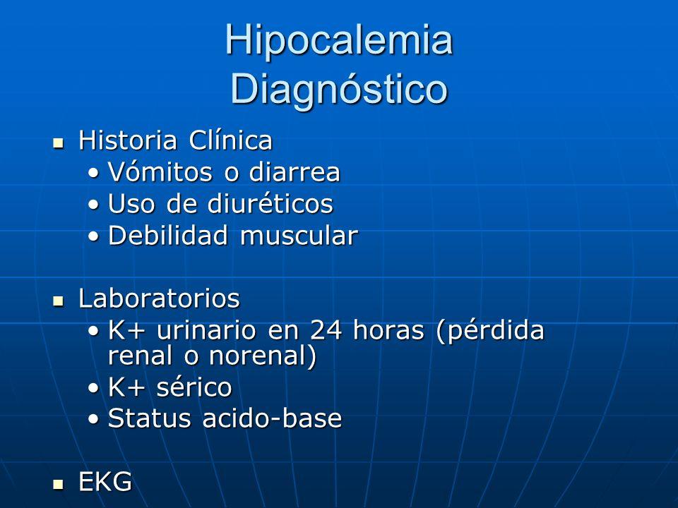 Hipocalemia Diagnóstico Historia Clínica Historia Clínica Vómitos o diarreaVómitos o diarrea Uso de diuréticosUso de diuréticos Debilidad muscularDebi