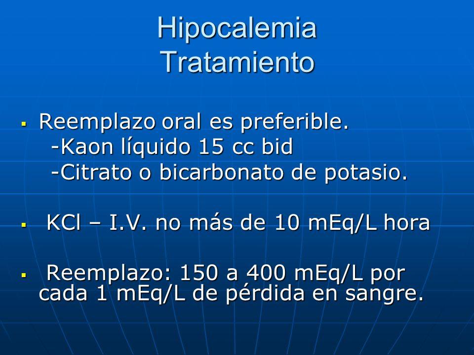 Hipocalemia Tratamiento Reemplazo oral es preferible. Reemplazo oral es preferible. -Kaon líquido 15 cc bid -Kaon líquido 15 cc bid -Citrato o bicarbo
