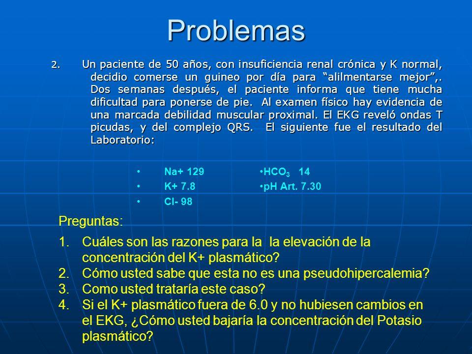 Problemas 2. Un paciente de 50 años, con insuficiencia renal crónica y K normal, decidio comerse un guineo por día para alilmentarse mejor,. Dos seman
