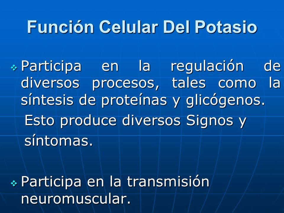 Función Celular Del Potasio Participa en la regulación de diversos procesos, tales como la síntesis de proteínas y glicógenos. Participa en la regulac