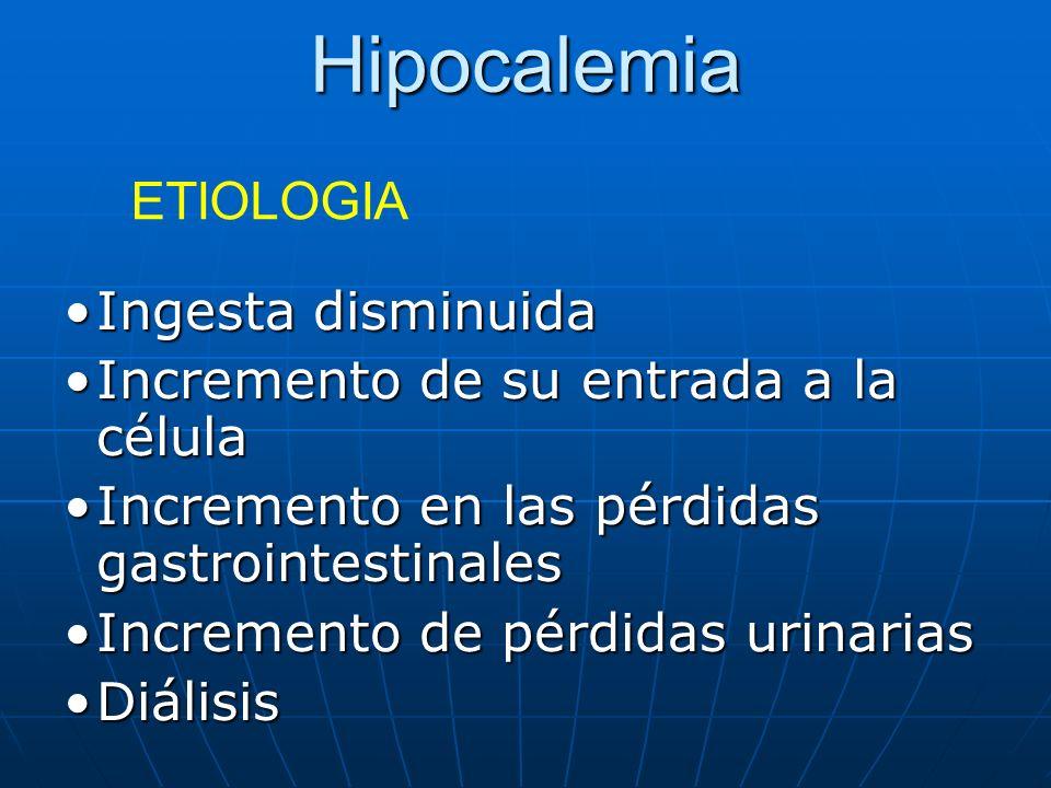 Hipocalemia Ingesta disminuidaIngesta disminuida Incremento de su entrada a la célulaIncremento de su entrada a la célula Incremento en las pérdidas g
