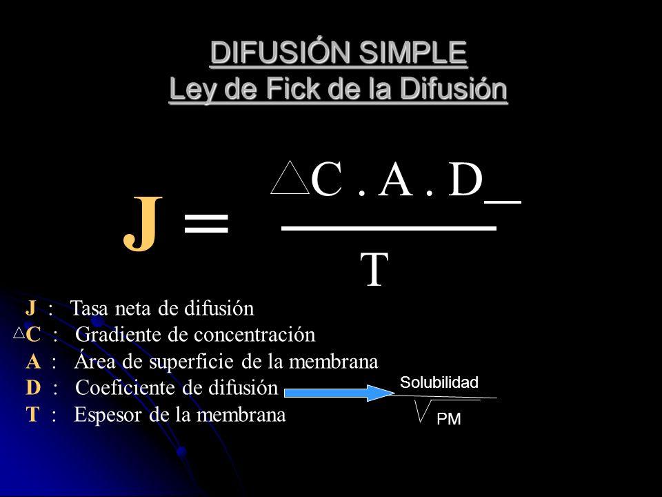 DIFUSIÓN SIMPLE Ley de Fick de la Difusión C. A. D T J = J : Tasa neta de difusión C : Gradiente de concentración A : Área de superficie de la membran