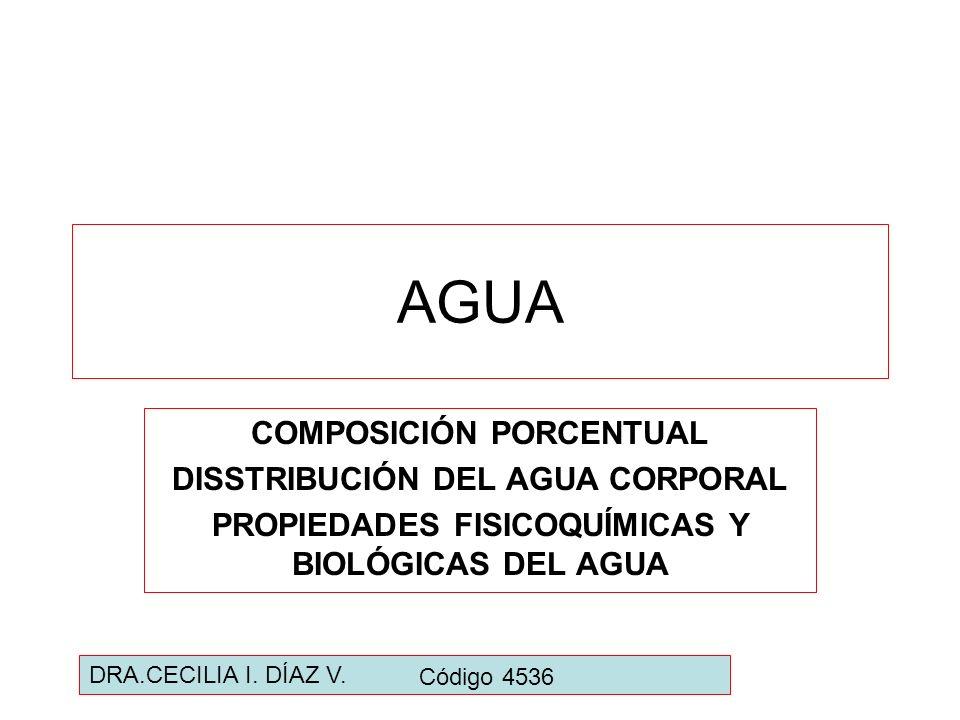 AGUA COMPOSICIÓN PORCENTUAL DISSTRIBUCIÓN DEL AGUA CORPORAL PROPIEDADES FISICOQUÍMICAS Y BIOLÓGICAS DEL AGUA DRA.CECILIA I. DÍAZ V. Código 4536
