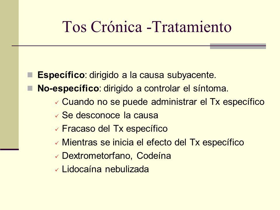 Tos Crónica Tratamiento Específico Iniciar tratamiento y vigilar respuesta Si hay mejoría parcial, identificar otras causas posibles y tratarlas Adición secuencial de Tx específico eficaz en 84 a 98% de los casos.