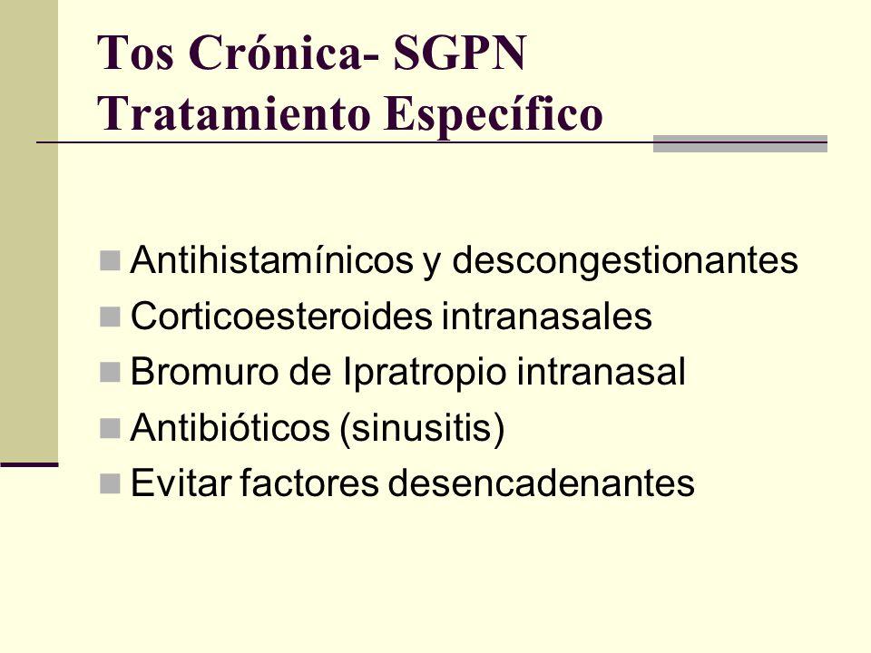 Tos Crónica- SGPN Tratamiento Específico En pacientes con tos crónica de etiología desconocida, se justifica el tratamiento empírico para SGPN, ya que es la causa más frecuente.