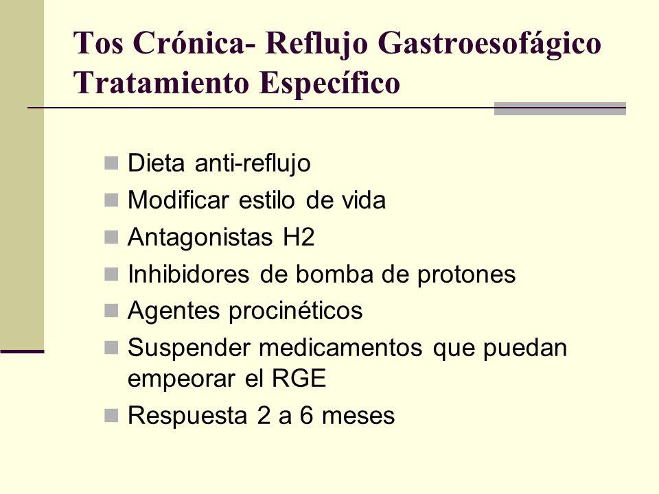 Tos Crónica- Bronquiectasias Tratamiento Específico Estimulantes mucociliares Fisioterapia del tórax Drenaje postural Antibióticos (H.