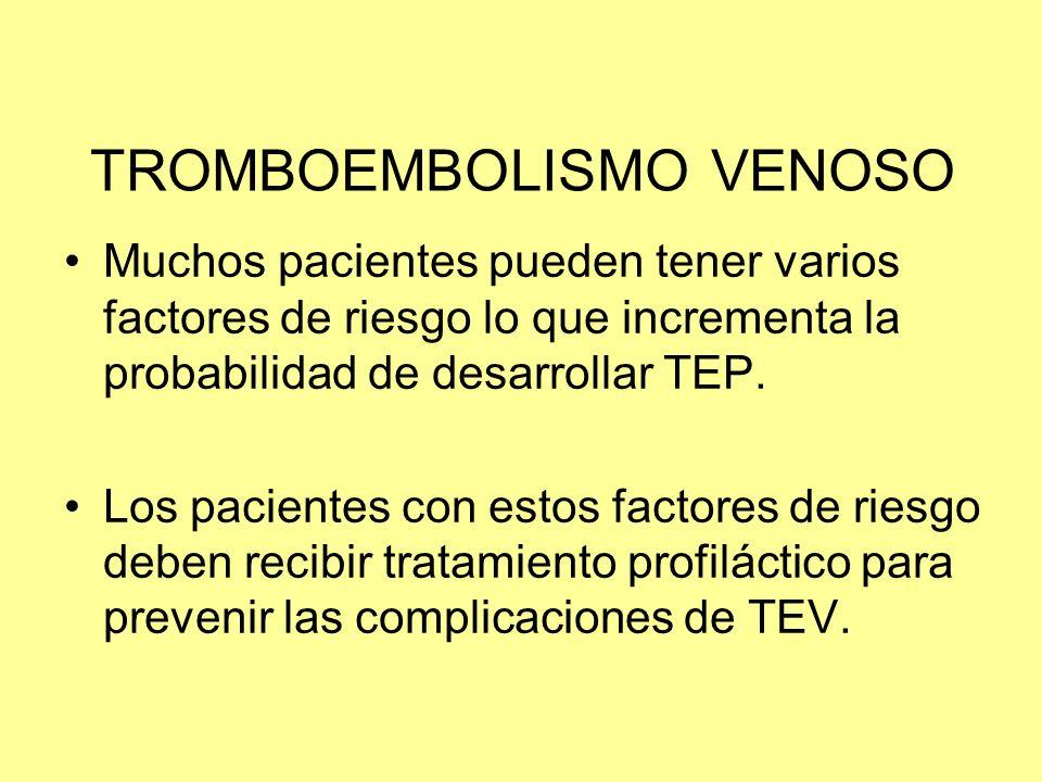 TROMBOEMBOLISMO VENOSO Muchos pacientes pueden tener varios factores de riesgo lo que incrementa la probabilidad de desarrollar TEP. Los pacientes con