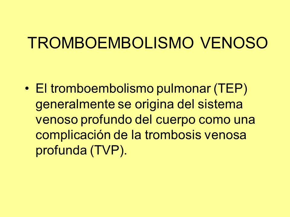 TROMBOEMBOLISMO VENOSO El tromboembolismo pulmonar (TEP) generalmente se origina del sistema venoso profundo del cuerpo como una complicación de la tr