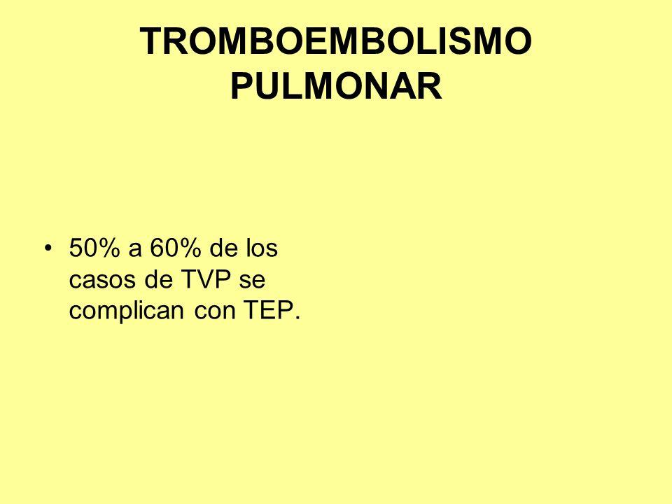 TROMBOEMBOLISMO PULMONAR 50% a 60% de los casos de TVP se complican con TEP.