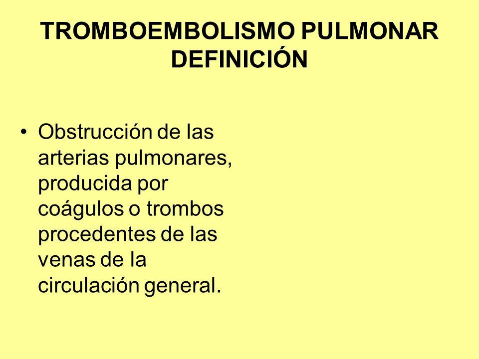 TROMBOEMBOLISMO PULMONAR CUADRO CLÍNICO SÍNTOMAS Dolor torácico 88% Disnea84% Dolor pleurítico 74% Tos 53% Hemoptisis30% MsIs26% Síncope13% Palpitaciones10% SIGNOS Taquipnea 92% Taquicardia 84% Crepitos 58% Fiebre 43% Galope 34% Flebitis 32% Edema 24% Homan 4%