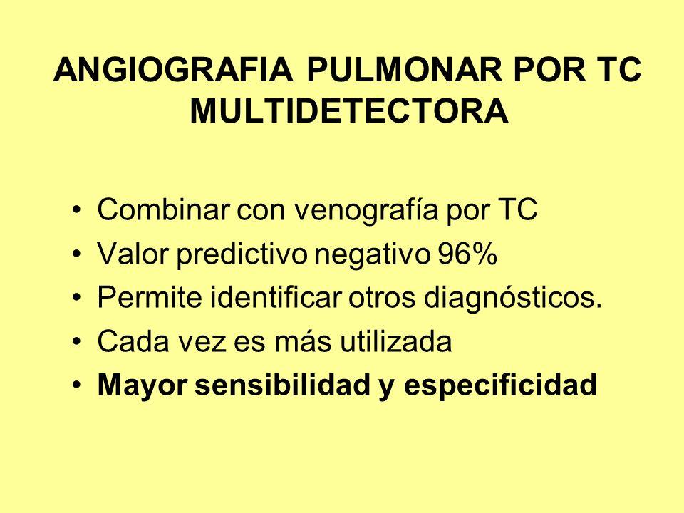 ANGIOGRAFIA PULMONAR POR TC MULTIDETECTORA Combinar con venografía por TC Valor predictivo negativo 96% Permite identificar otros diagnósticos. Cada v