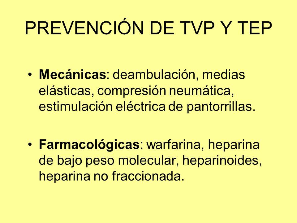 PREVENCIÓN DE TVP Y TEP Mecánicas: deambulación, medias elásticas, compresión neumática, estimulación eléctrica de pantorrillas. Farmacológicas: warfa