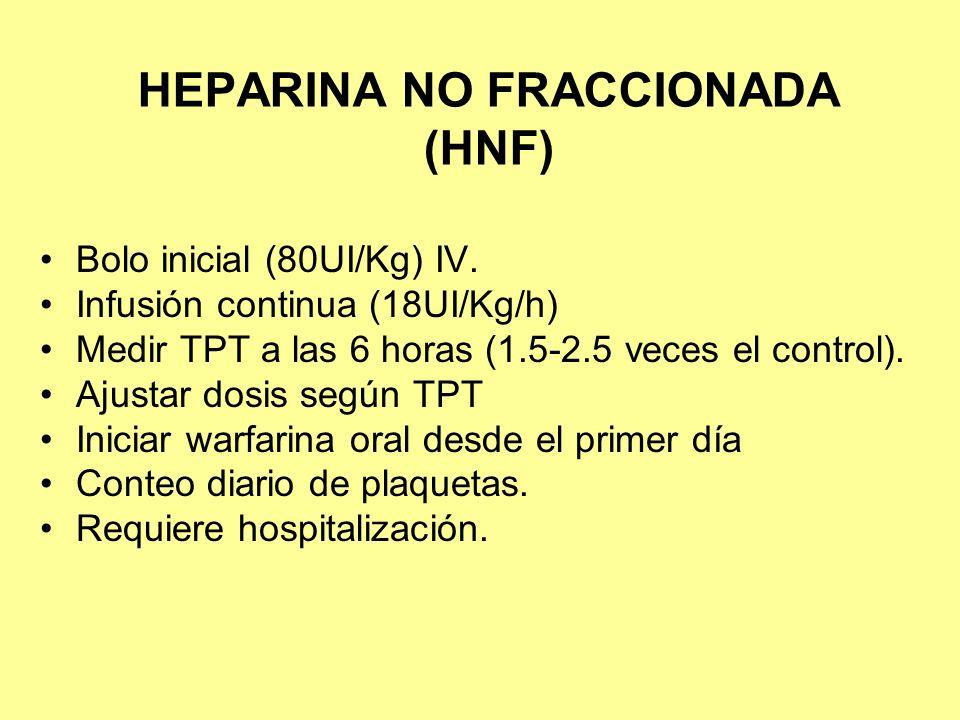 HEPARINA NO FRACCIONADA (HNF) Bolo inicial (80UI/Kg) IV. Infusión continua (18UI/Kg/h) Medir TPT a las 6 horas (1.5-2.5 veces el control). Ajustar dos