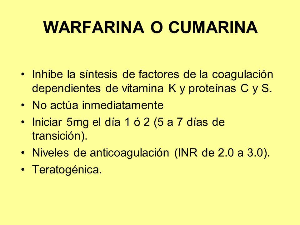 WARFARINA O CUMARINA Inhibe la síntesis de factores de la coagulación dependientes de vitamina K y proteínas C y S. No actúa inmediatamente Iniciar 5m
