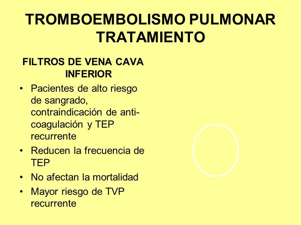 TROMBOEMBOLISMO PULMONAR TRATAMIENTO FILTROS DE VENA CAVA INFERIOR Pacientes de alto riesgo de sangrado, contraindicación de anti- coagulación y TEP r