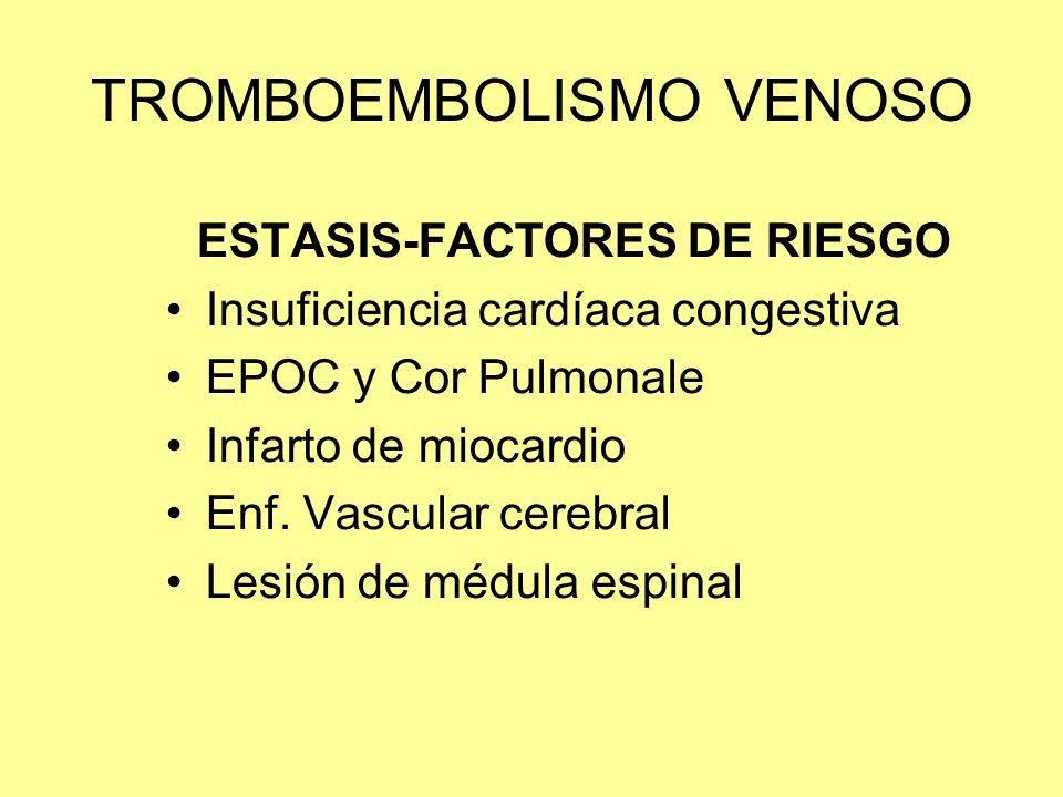 TROMBOEMBOLISMO VENOSO ESTASIS-FACTORES DE RIESGO Insuficiencia cardíaca congestiva EPOC y Cor Pulmonale Infarto de miocardio Enf. Vascular cerebral L
