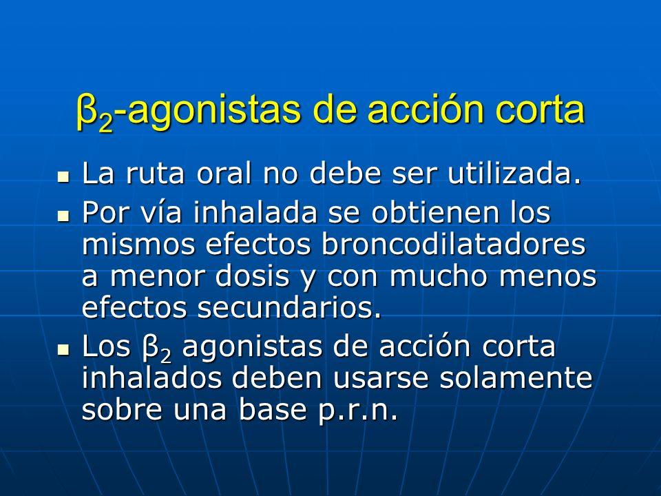 β 2 -agonistas de acción corta La ruta oral no debe ser utilizada. La ruta oral no debe ser utilizada. Por vía inhalada se obtienen los mismos efectos
