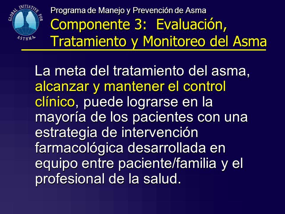 Programa de Manejo y Prevención de Asma Componente 3: Evaluación, Tratamiento y Monitoreo del Asma La meta del tratamiento del asma, alcanzar y manten