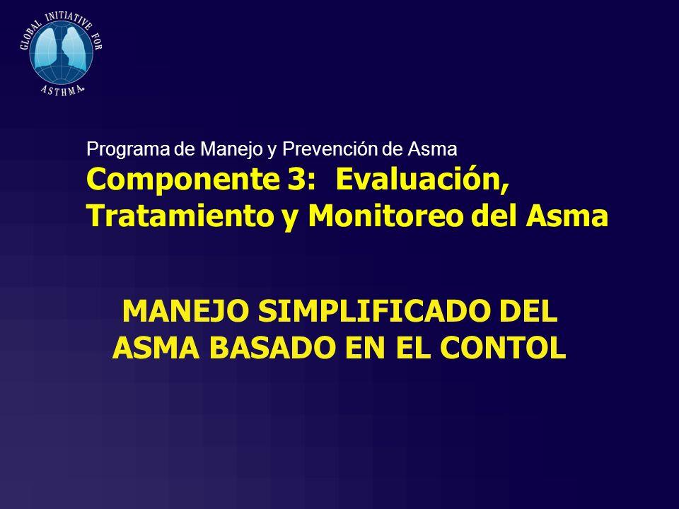 Programa de Manejo y Prevención de Asma Componente 3: Evaluación, Tratamiento y Monitoreo del Asma MANEJO SIMPLIFICADO DEL ASMA BASADO EN EL CONTOL