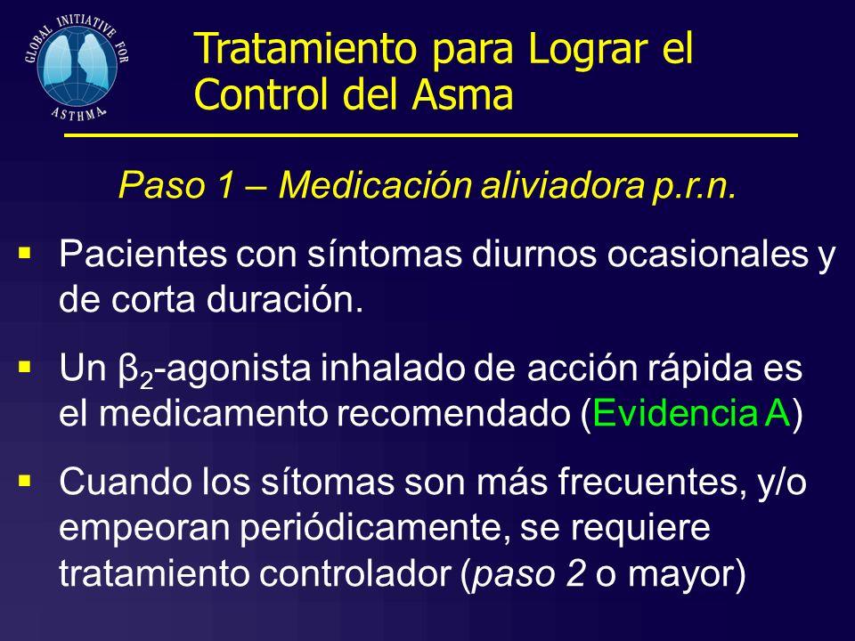 Paso 1 – Medicación aliviadora p.r.n. Pacientes con síntomas diurnos ocasionales y de corta duración. Un β 2 -agonista inhalado de acción rápida es el