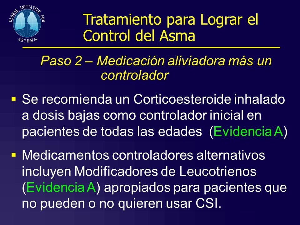 Paso 2 – Medicación aliviadora más un controlador Se recomienda un Corticoesteroide inhalado a dosis bajas como controlador inicial en pacientes de to