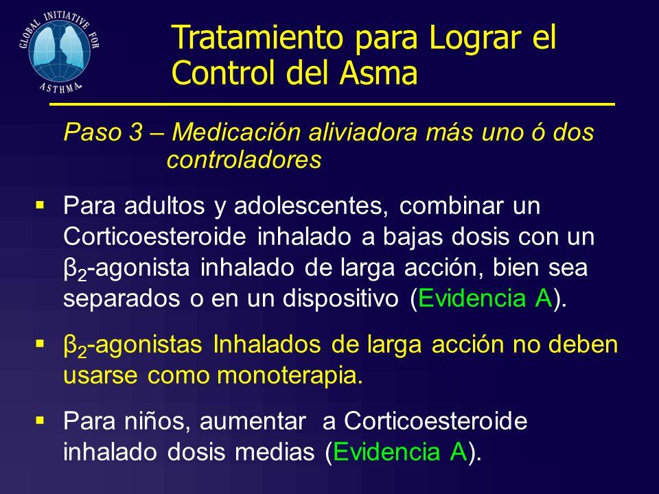 Paso 3 – Medicación aliviadora más uno ó dos controladores Para adultos y adolescentes, combinar un Corticoesteroide inhalado a bajas dosis con un β 2