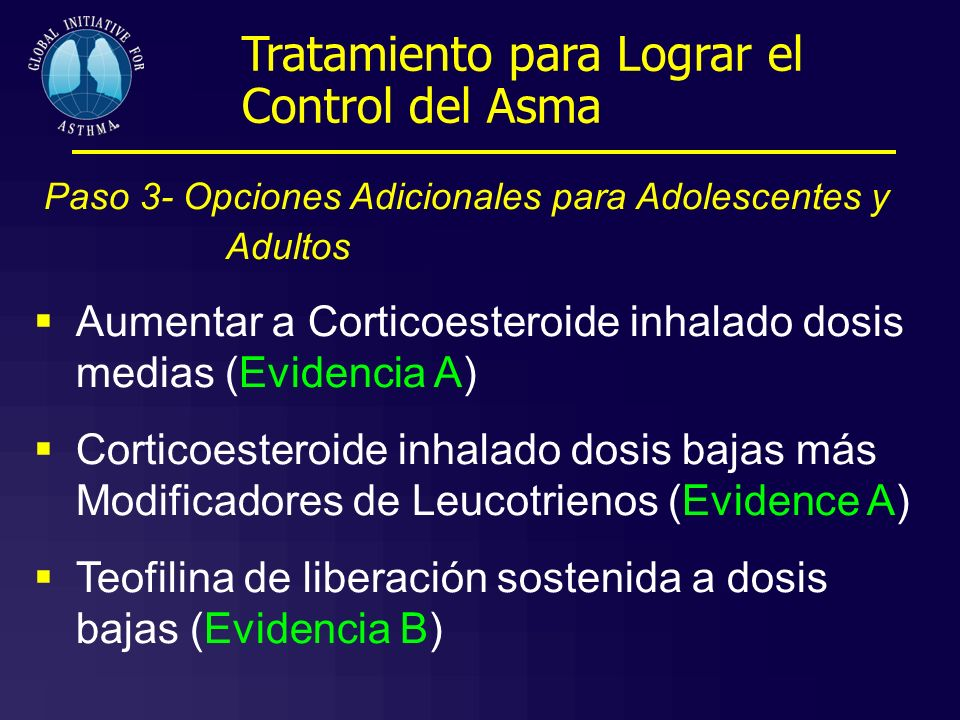 Paso 3- Opciones Adicionales para Adolescentes y Adultos Aumentar a Corticoesteroide inhalado dosis medias (Evidencia A) Corticoesteroide inhalado dos
