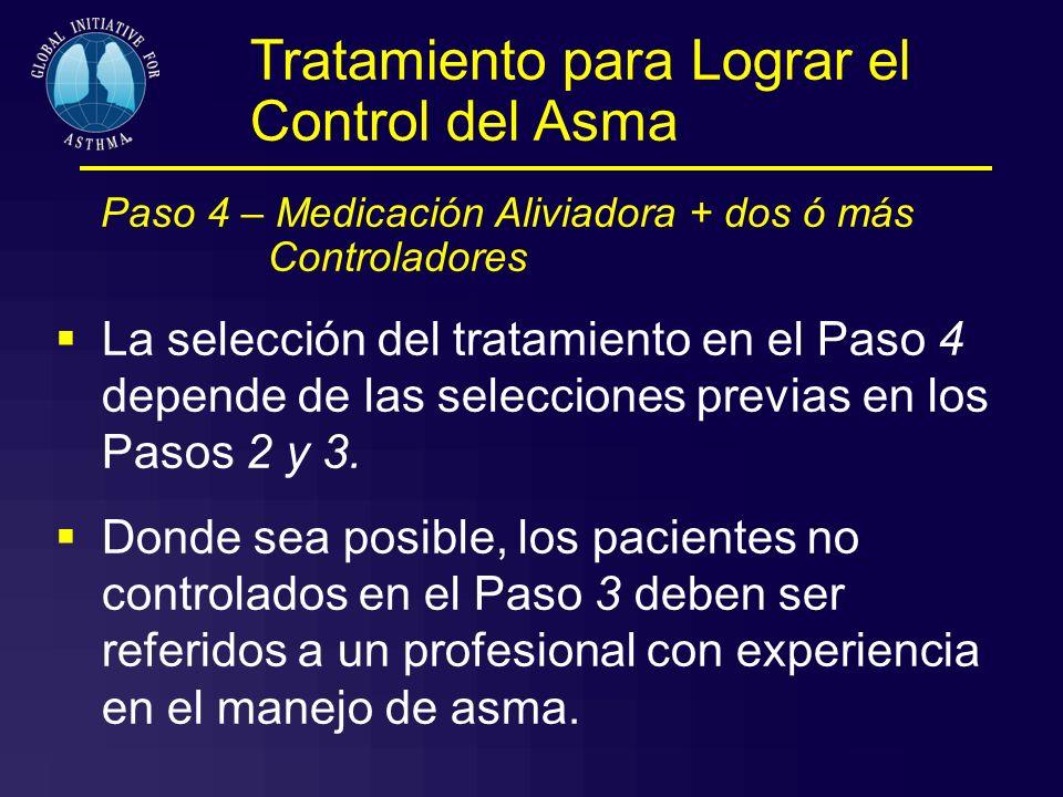Paso 4 – Medicación Aliviadora + dos ó más Controladores La selección del tratamiento en el Paso 4 depende de las selecciones previas en los Pasos 2 y
