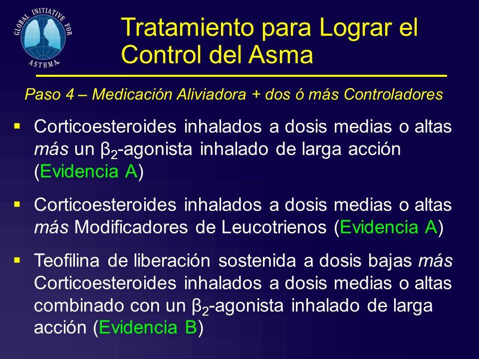 Paso 4 – Medicación Aliviadora + dos ó más Controladores Corticoesteroides inhalados a dosis medias o altas más un β 2 -agonista inhalado de larga acc