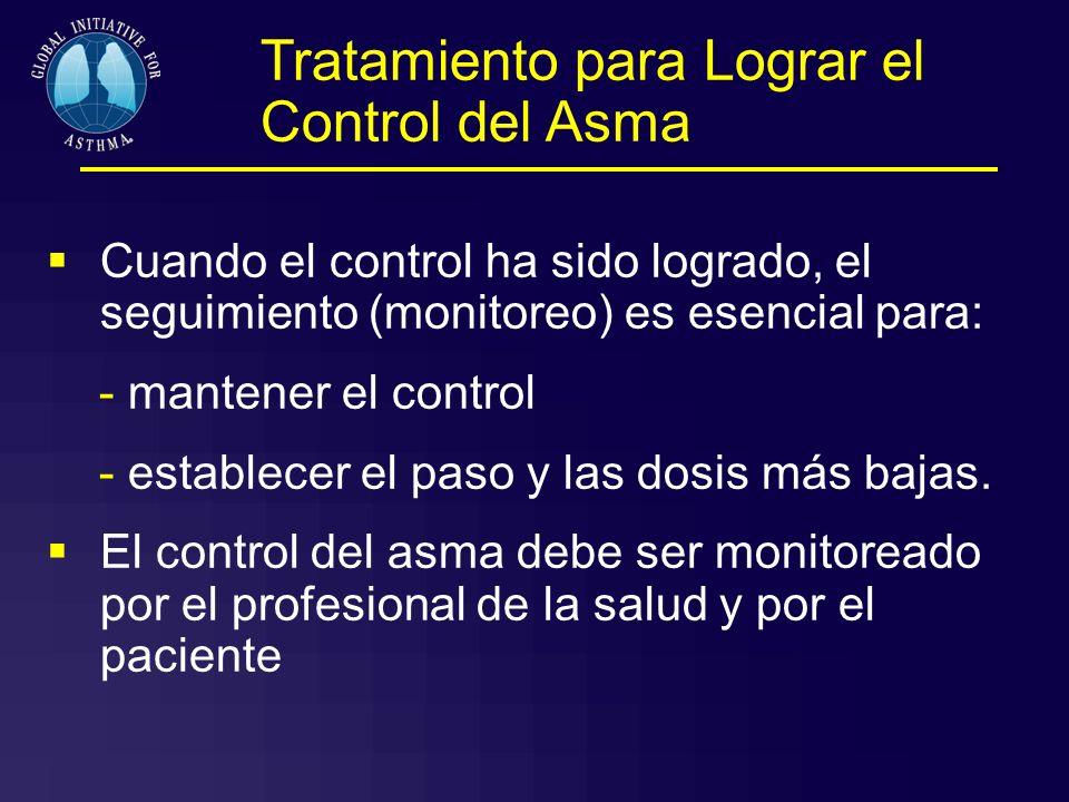 Tratamiento para Lograr el Control del Asma Cuando el control ha sido logrado, el seguimiento (monitoreo) es esencial para: - mantener el control - es