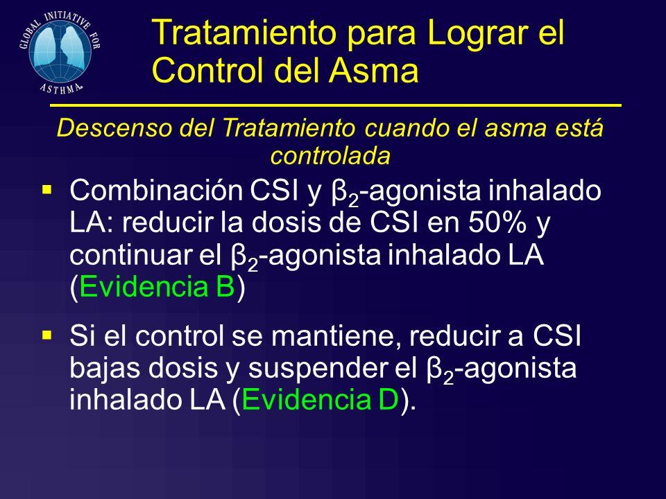 Tratamiento para Lograr el Control del Asma Descenso del Tratamiento cuando el asma está controlada Combinación CSI y β 2 -agonista inhalado LA: reduc