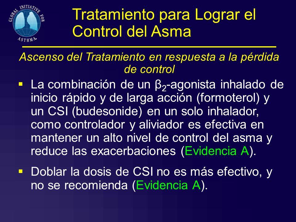 Tratamiento para Lograr el Control del Asma Ascenso del Tratamiento en respuesta a la pérdida de control La combinación de un β 2 -agonista inhalado d