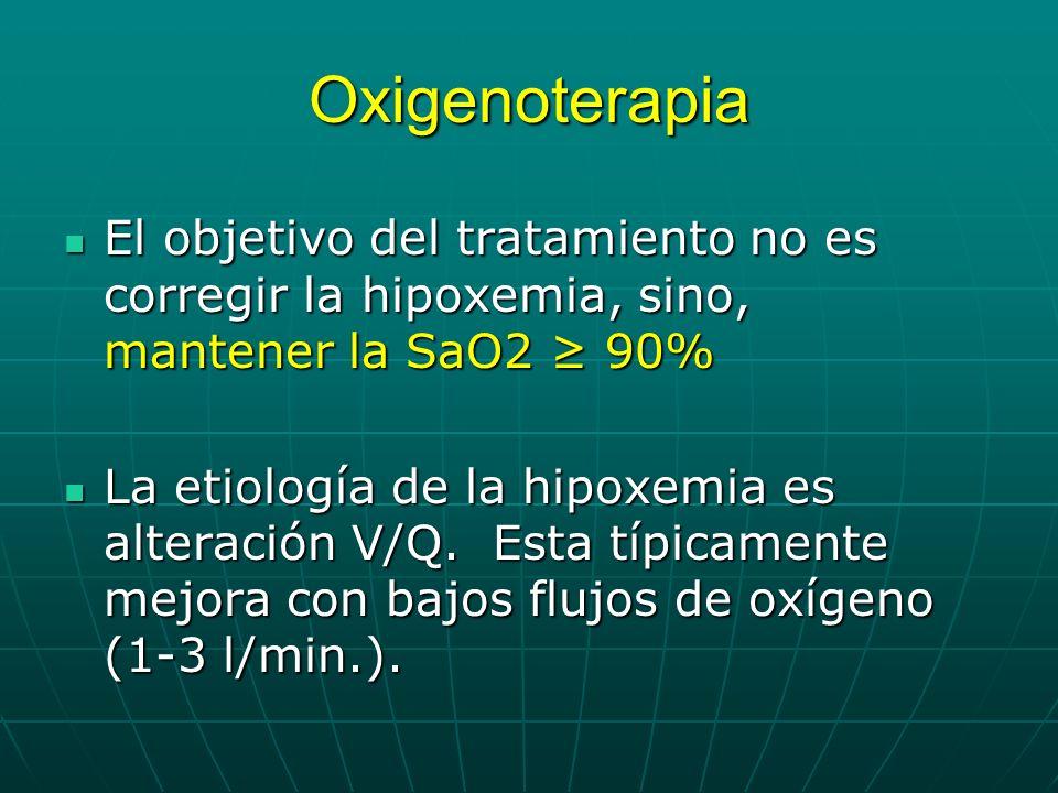 Oxigenoterapia El objetivo del tratamiento no es corregir la hipoxemia, sino, mantener la SaO2 90% El objetivo del tratamiento no es corregir la hipox
