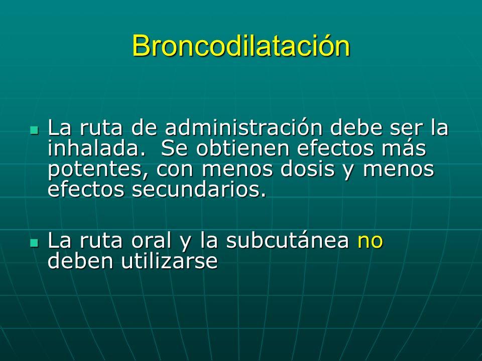 Broncodilatación La ruta de administración debe ser la inhalada. Se obtienen efectos más potentes, con menos dosis y menos efectos secundarios. La rut