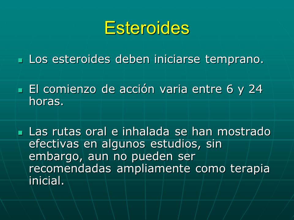 Esteroides Los esteroides deben iniciarse temprano. Los esteroides deben iniciarse temprano. El comienzo de acción varia entre 6 y 24 horas. El comien