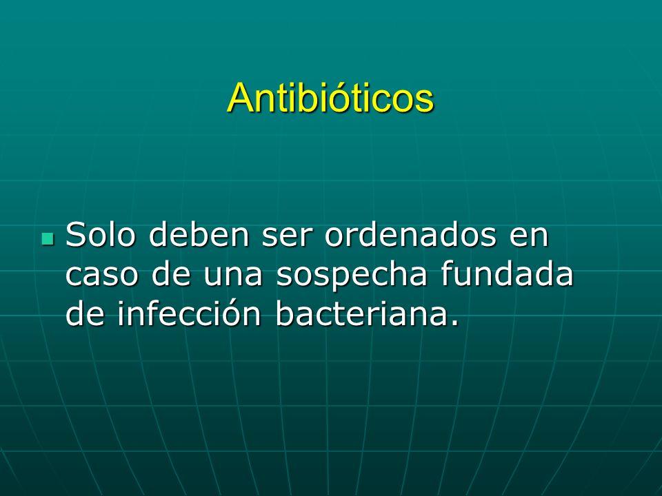 Antibióticos Solo deben ser ordenados en caso de una sospecha fundada de infección bacteriana. Solo deben ser ordenados en caso de una sospecha fundad