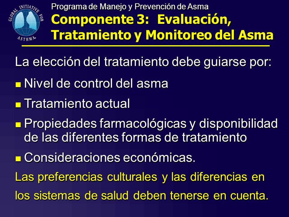 La elección del tratamiento debe guiarse por: Nivel de control del asma Tratamiento actual Propiedades farmacológicas y disponibilidad de las diferent
